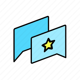 chat, conversation, dialogue, message, question, star, talk icon