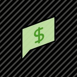 chat, conversation, dialogue, message, money, question, send icon