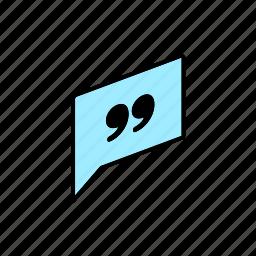 chat, conversation, dialogue, message, question, quote, send icon