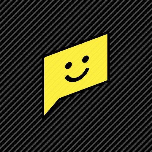 chat, conversation, dialogue, message, question, send, smile icon