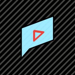 chat, conversation, dialogue, message, question, send, video icon