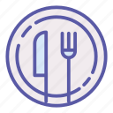 dinner, food, fork, kitchen, knife, lunch, plate icon