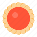biscuit, cookie, cracker, flower, jam, strawberry icon