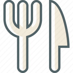 and, knife, spoon icon