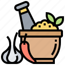grind, ingredient, mortar, seasoning, spice icon