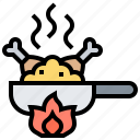 chicken, fired, frying, pan, wok icon