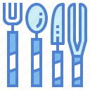 fork, knife, spoon, utensils