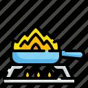 cooking, flambe, food, frying, kitchen, pan, restaurant