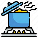 boil, cooking, food, kitchenware, pot, steam, stove icon