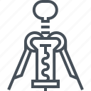 bottle, corkscrew, kitchen, open, opener, tool, wine icon