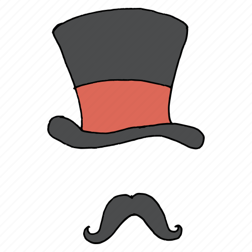cap, disguise, hat, hipster, magic, magician, moustache icon