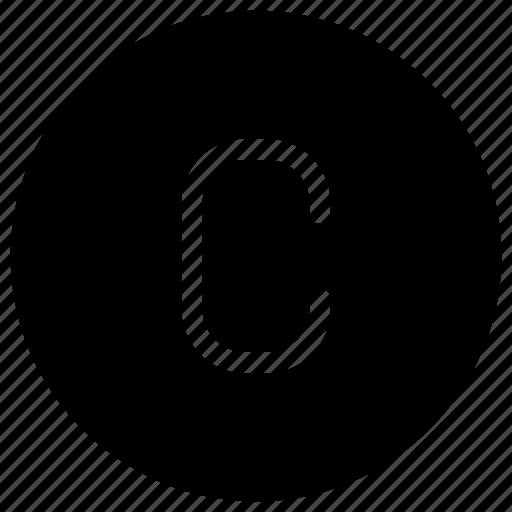 alphabet, c, copyright, mark, phonogram, property icon
