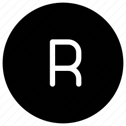alphabet, copyright, phonogram, r, registered icon