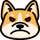 angry, corgi, emoji, emotion, expression, face, feeling