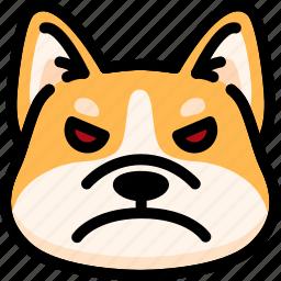 angry, corgi, emoji, emotion, expression, face, feeling icon