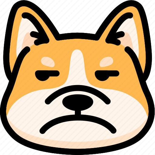 annoying, corgi, emoji, emotion, expression, face, feeling icon