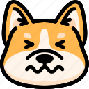 confounded, dog, emoji, emotion, expression, face, feeling