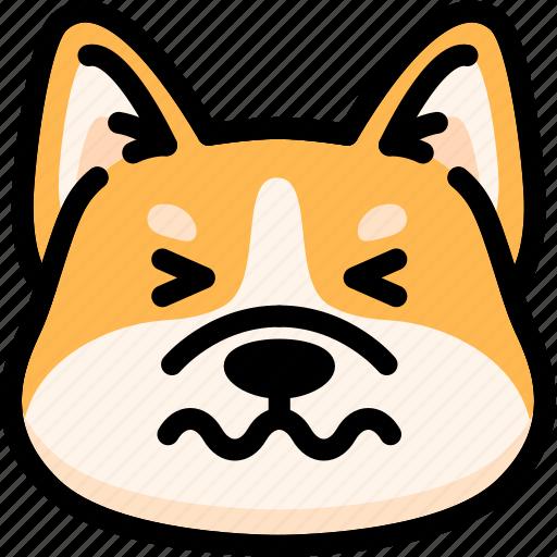 confounded, dog, emoji, emotion, expression, face, feeling icon