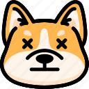 corgi, dead, emoji, emotion, expression, face, feeling