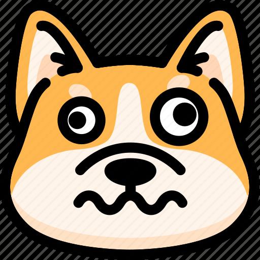 dizzy, dog, emoji, emotion, expression, face, feeling icon