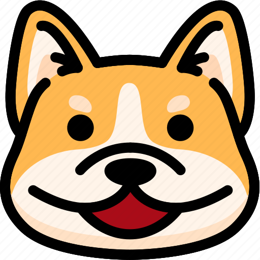 corgi, emoji, emotion, expression, face, feeling, happy icon