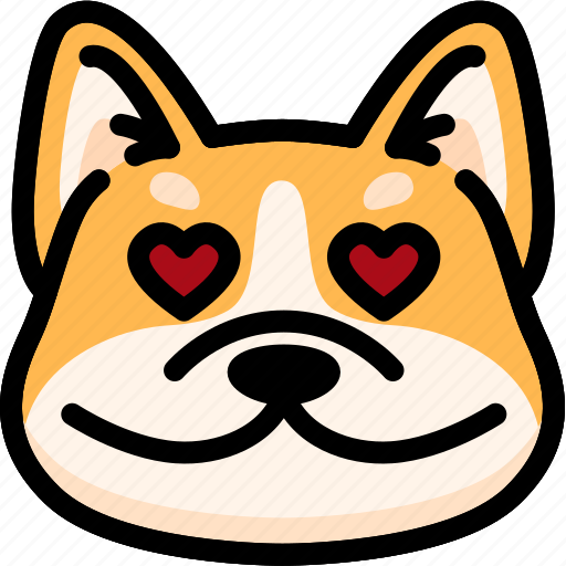 corgi, emoji, emotion, expression, face, feeling, love icon