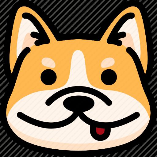 corgi, emoji, emotion, expression, face, feeling, naughty icon