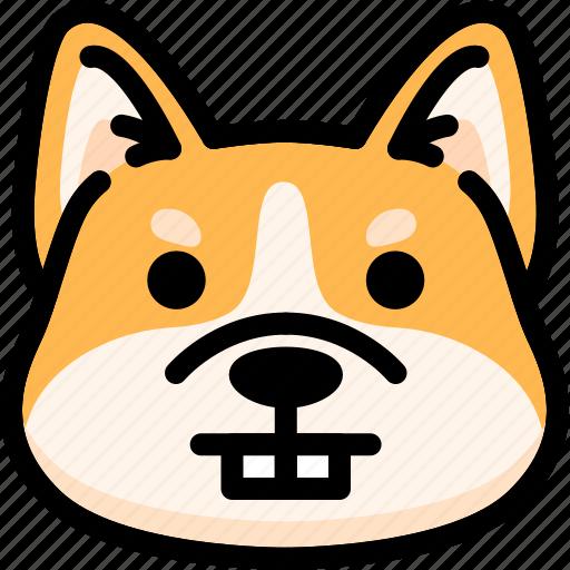 corgi, emoji, emotion, expression, face, feeling, nerd icon