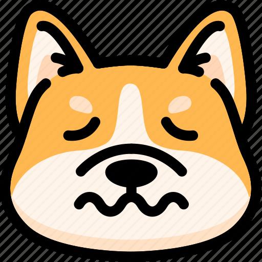 dog, emoji, emotion, expression, face, feeling, nervous icon