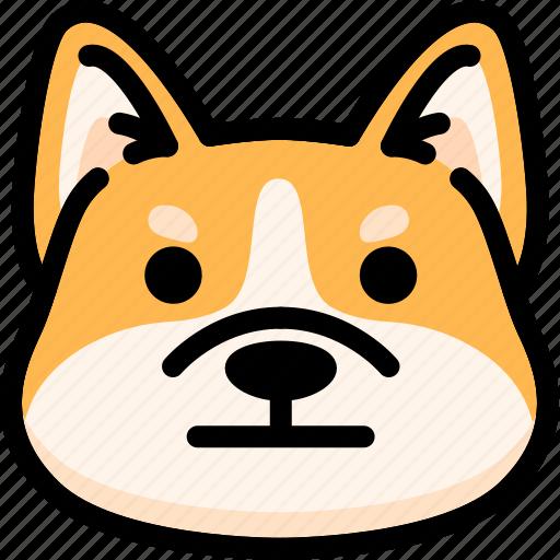 corgi, emoji, emotion, expression, face, feeling, neutral icon