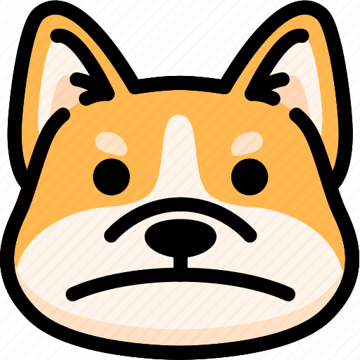dog, emoji, emotion, expression, face, feeling, sad icon