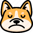 corgi, emoji, emotion, expression, face, feeling, sad
