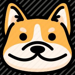 dog, emoji, emotion, expression, face, feeling, smile icon