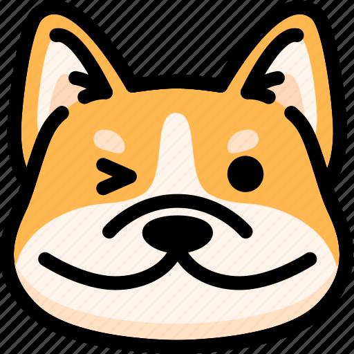 corgi, emoji, emotion, expression, face, feeling, smile icon