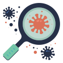 disease, magnifier, research, scan, virus icon