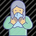 coronavirus, coughing, spread, women icon
