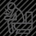 coronavirus, diarrhea, disease, man, sitting, toilet icon