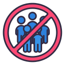 crowded, group, no, outside, people, prohibited icon