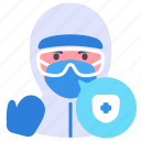 coronavirus, doctor, medical, ppe, protect, safe, suit icon