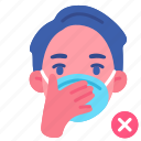 covid, hand, hygienic, man, mask, no, touch icon