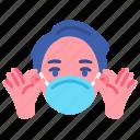 adviser, coronavirus, covid, hygienic, man, mask, take off icon