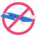 coronavirus, covid, flight, plane, prohibited, quarantine, travel icon