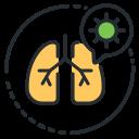 coronavirus, damage, lungs, pneumonia icon
