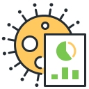 analytics, coronavirus, spreading, statistics icon