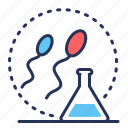 fertilization, production, sperm, flask icon