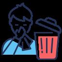 bin, coronavirus, sneezing, throw used tissue icon