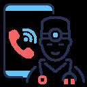 call, coronavirus, doctor, smartphone icon