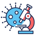 coronavirus, laboratory, microscope, virus icon
