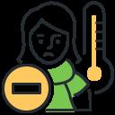 fever, girl, sick, temperature icon