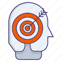 businessman, focus, headhunter, target icon